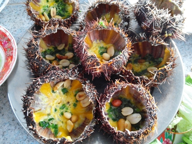 Grilled with spring onions and roasted peanuts, sea urchins are a delicacy of fishermen in the region. — VNS Photo Nguyễn Luân